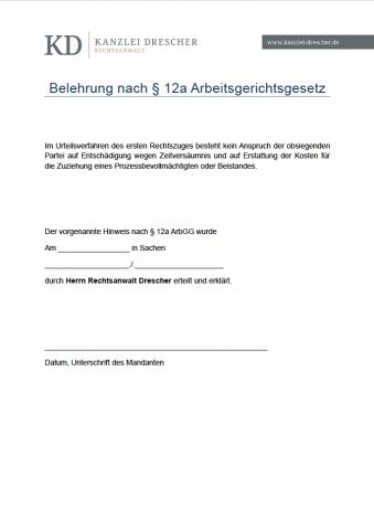 Belehrung nach §12a ArbGG